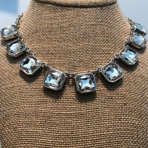 Retro glam square cut crystal necklace